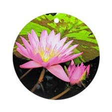 Water Lily Fresco Ornament (Round)