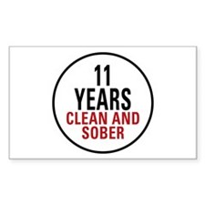 11 Years Clean & Sober Rectangle Sticker 10 pk)