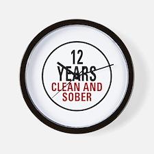 12 Years Clean & Sober Wall Clock