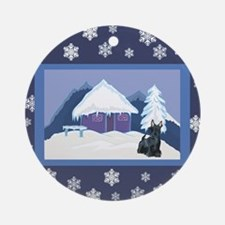 Snowflake Scottie Ornament (Round)