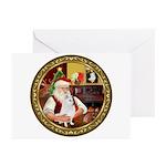 Santa's American Eskimo #5 Greeting Cards (Pk of 2
