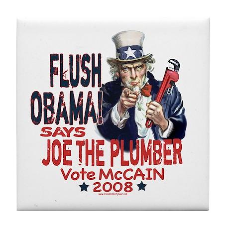 Flush Obama says Joe Tile Coaster