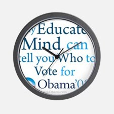 Educated Minds vote Obama Wall Clock