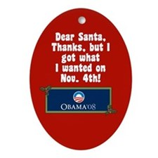 Santa for Barack Obama Christmas Ornament
