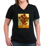 Van Gogh Sunflowers Women's V-Neck Dark T-Shirt