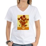 Van Gogh Sunflowers Women's V-Neck T-Shirt
