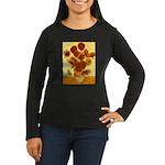Van Gogh Sunflowers Women's Long Sleeve Dark T-Shi