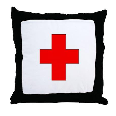 Blank Red Cross 1 Throw Pillow