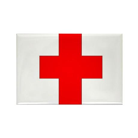 Blank Red Cross 1 Rectangle Magnet (10 pack)