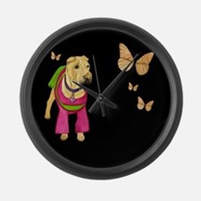 Shar Pei with Butterfly Large Wall Clock