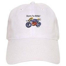 Child Art Born To Ride Baseball Cap