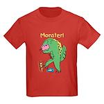 T-Rex Monster Child Art Kids Dark T-Shirt