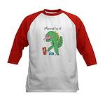 T-Rex Monster Child Art Kids Baseball Jersey
