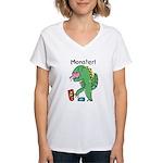 T-Rex Monster Child Art Women's V-Neck T-Shirt