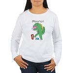 T-Rex Monster Child Art Women's Long Sleeve T-Shir