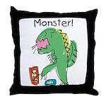 T-Rex Monster Child Art Throw Pillow
