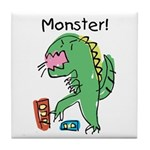 T-Rex Monster Child Art Tile Coaster
