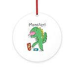 T-Rex Monster Child Art Ornament (Round)
