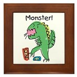T-Rex Monster Child Art Framed Tile