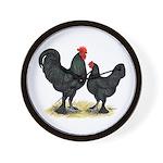 Black Langshan Chickens Wall Clock