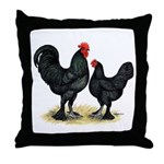 Black Langshan Chickens Throw Pillow