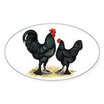 Black Langshan Chickens Oval Sticker