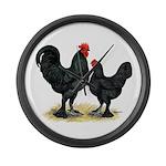 Black Langshan Chickens Large Wall Clock