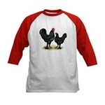 Black Langshan Chickens Kids Baseball Jersey