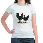 Black Langshan Chickens Jr. Ringer T-Shirt