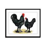 Black Langshan Chickens Framed Panel Print