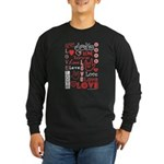 Love WordsHearts Long Sleeve Dark T-Shirt