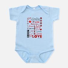 Love WordsHearts Infant Bodysuit
