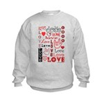 Love WordsHearts Kids Sweatshirt