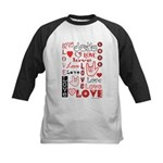 Love WordsHearts Kids Baseball Jersey
