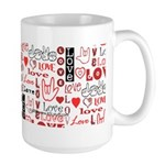 Love WordsHearts Large Mug