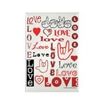 Love WordsHearts Rectangle Magnet (100 pack)