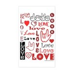 Love WordsHearts Rectangle Sticker