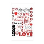 Love WordsHearts Rectangle Sticker 50 pk)