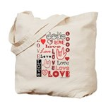 Love WordsHearts Tote Bag