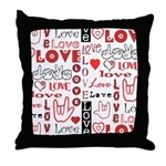 Love WordsHearts Throw Pillow