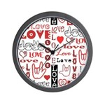 Love WordsHearts Wall Clock