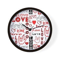 Love WordsHearts Wall Clock