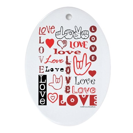 Love WordsHearts Oval Ornament