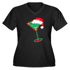 Christmastini Women's Plus Size V-Neck Dark T-Shir