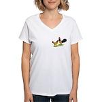 Gold Lakenvelder Chickens Women's V-Neck T-Shirt