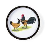 Gold Lakenvelder Chickens Wall Clock