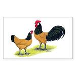 Gold Lakenvelder Chickens Rectangle Sticker 50 pk