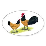 Gold Lakenvelder Chickens Oval Sticker (10 pk)