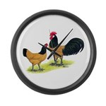 Gold Lakenvelder Chickens Large Wall Clock
