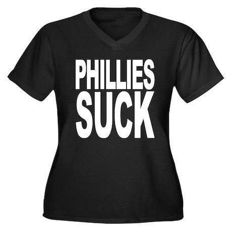 Phillies Suck Women's Plus Size V-Neck Dark T-Shir